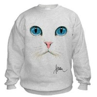 Cat Face Uni-Sex Sweatshirt (Adult Large, Ash Grey)