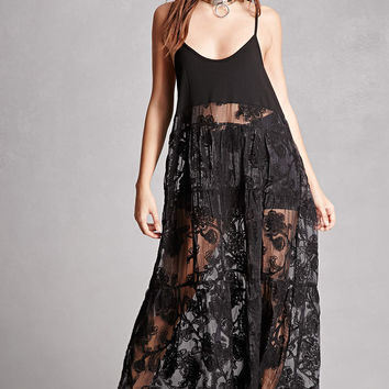 Embroidered Sheer Cami Dress