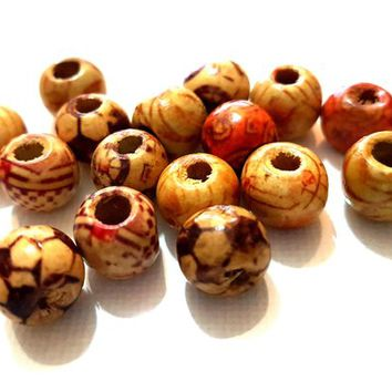 Pack of 50 Assorted Patterned Brown Beads. 9mm x 10mm. Hole Size is 3mm Diameter. Ideal for Kid's Craft, Macrame, Jewellery Making & Crafts