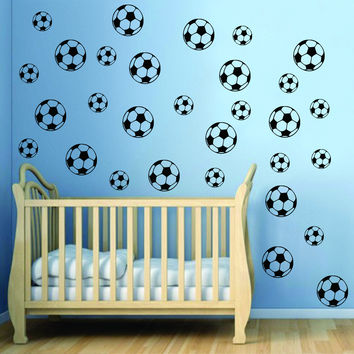 Set of 30 Soccer Balls Sports Decal Sticker Wall Vinyl Art Home Decor Teen Nursery Fifa Football