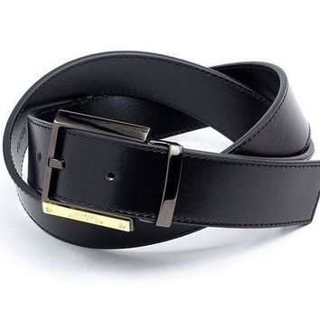 ESBON Versace Collection Men's Leather Black Buckle Belt