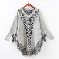 Knit Batwing Sleeve Tassels Round-neck Scarf Sweater [9101520775]