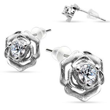 Pair of .925 Sterling Silver Rose with CZ in middle Stud Ear WildKlass Rings (Sold as a Pair)