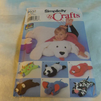 "Simplicity Crafts Sewing Pattern 8932 Seven 40"" Pillow Animals Dog Bear Elephant Cow UC"