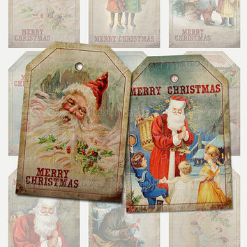 Vintage Christmas gift tags, Printable Santa Claus favor tags, Santa Claus labels, instant download file