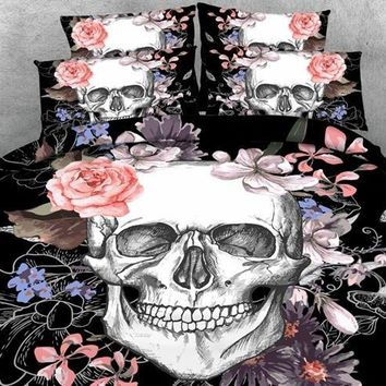 3D Skull and Flowers Printed Cotton Luxury 4-Piece Black Halloween Bedding Sets/Duvet Covers