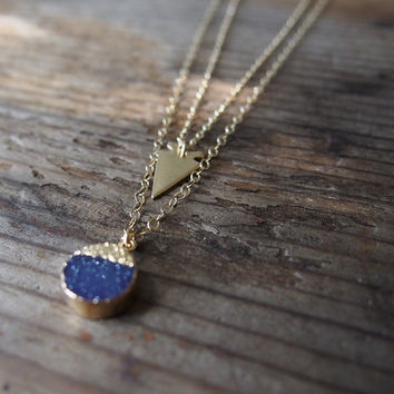 Layered Gold Necklace Set Gold Druzy Necklace 14K Gold Fill Delicate Arrowhead Necklace Golden Layered Necklaces