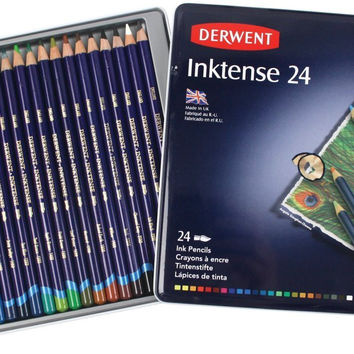 Derwent Colored Pencils Drawing Watercolor Art Inktense Ink Pencils 24-Pack (0700929)