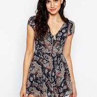 Glamorous Dress in Folk Paisley Print