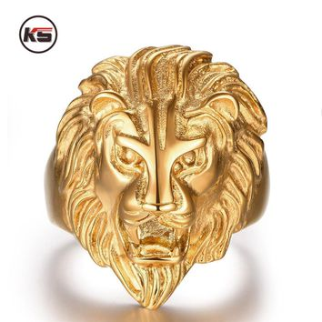 2016 New Design Retro Punk Ferocious Golden Lion Head Ring Bicycle Gothic Knight 316L Stainless Steel Men's Ring 8-12 Code