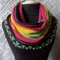 Bright Rasta Mexican Blanket Small Cowl Scarf- Free Shipping to Continental US