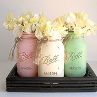 Shabby Cottage THREE Painted Mason Jars Ball Jars Vase set WITH tray, QUART Distressed containers pink creamy ivory minty green home decor