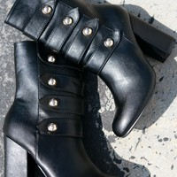 Bamboo Button Accent Military Chunky Heeled Ankle Boots