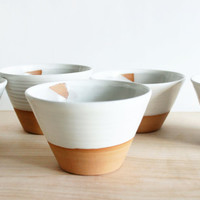 Made to order pottery soup bowl, four white ceramic bowls, ice cream dish, modern pottery