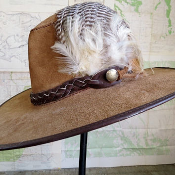Boho Hippie Leather Hat with leather braided band feathers Festival Hat size Medium