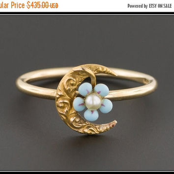 ON SALE Crescent Moon Stick Pin Conversion Ring |Crescent Moon & Forget-Me-Not Flower Ring | 14k Gold Crescent Moon Ring | 14k Gold Ring