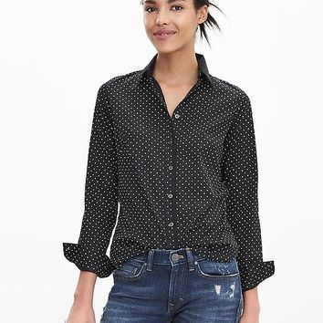 Banana Republic Womens Fitted Non Iron Dot Shirt