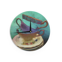 "alyZen Moonshadow ""Mad Hatters T-Party I"" Turquoise Wall Clock"
