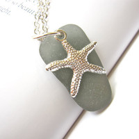Sea Glass Starfish Necklace in Rare Grey sea by SeaglassGallery