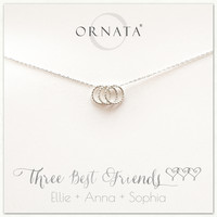 """Three Best Friends Delicate"" Sterling Silver Necklace on Personalized Jewelry Card"