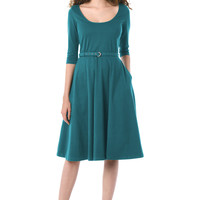Cotton knit belted dress