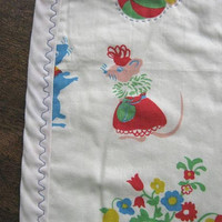 Midcentury Crib Cover w/ Fairy Tale Characters: Jack/Beanstalk; 3 Little Pigs; Raggedy Ann & Andy; Country/City Mouse; Vintage Nursery Decor