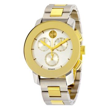 Movado Bold Chronograph Silver Sunray Dial Two- tone Unisex Watch 3600357