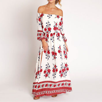 Hot Fashion Off Shoulder Low Cut Bohamian Sexy Dress Floral Womens Elegant Vintage Party Dresses Boho Long Sleeve Maxi Dress