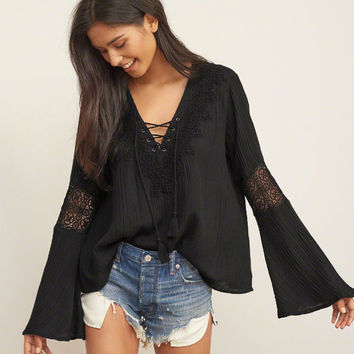 Lace up Peasant Top