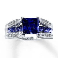Lab-Created Sapphire Ring 1/8 ct tw Diamonds 10K White Gold