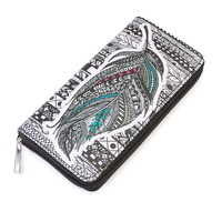 Black White Feather Print Wallet
