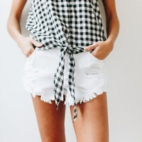 Desert Lily Distressed White Shorts - Luca + Grae