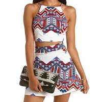 White Combo Tribal Chevron Strappy Crop Top by Charlotte Russe