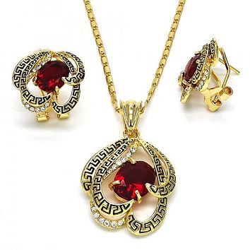 Gold Layered 10.160.0114 Necklace and Earring, Greek Key Design, with Garnet Cubic Zirconia and White Crystal, Polished Finish, Golden Tone