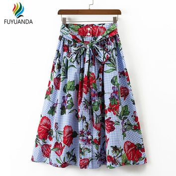 Women Pleated Plaid Skirt Floral Print A-line High Waist Lace Up Buttons Pockets Casual Midi Skirts Falda Mujer Femininas