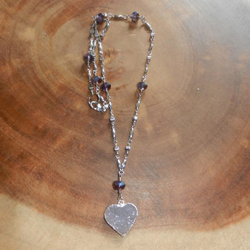 Light Purple Heart Druzy Necklace, Amethyst Necklace, Mother's Day Gift, Womens Jewelry, 20 Inch Necklace