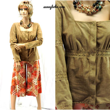 Faux suede / crocheted lace gypsy top size L vintage A.B.S. 80s / 90s boho hippie blouse brown taupe peasant top SunnyBohoVintage