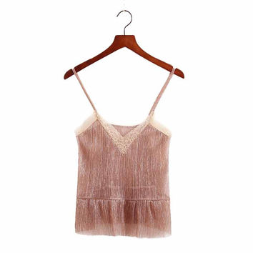 Women sleeveless gold camis tank top lace patchwork elastic transparent shirts ladies summer casual tops blusas WT374