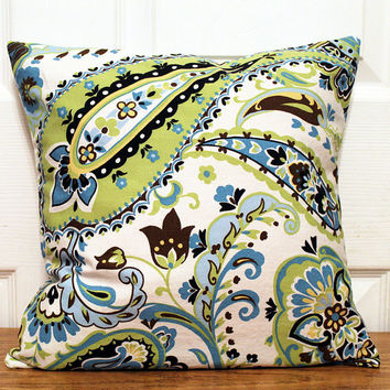 BOTH SIDES Decorative Throw Pillow Cover, ONE All Sizes Braemore Somerset Paisley Cotton Jade Green Blue Yellow Black Brown White  Pillow