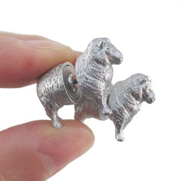3D Miniature Sheep Shaped Two Part Front Back Stud Earrings in Glittery Silver
