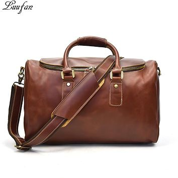 Women's Genuine leather Travel bag Oil Wax glossy real leather big capacity waterproof travel duffel women hand Luggage bag