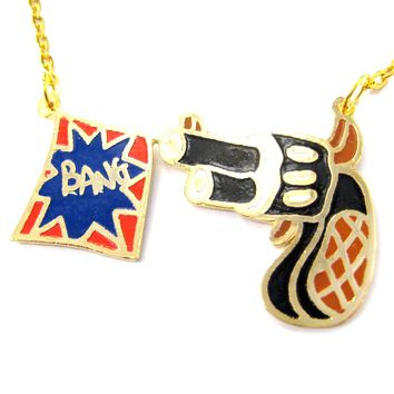 Cartoon Hand Gun Pistol and Bang Flag Shaped Pendant Necklace | Limited Edition