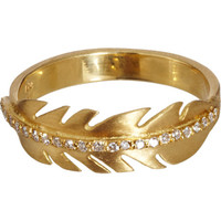 Diamond & Yellow Gold Feather Ring