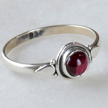 Garnet Ring, Sterling Silver Ring, Garnet Stone, Gemstone Ring, Sterling Ring, Girls Rings , Simple Ring, Baby Ring,Garnet
