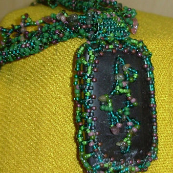 Hand Beaded Jewelry a Black Obsidian Cab On Circular Peyote Rope With Watermeoln Tourmaline Necklace