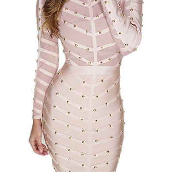 Long Sleeve Studded Midi Dress - Nude