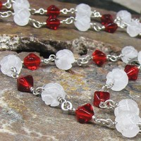 Simple bracelet, necklace, sterling, red glass, frosted, carved quartz | bohowirewrapped - Jewelry on ArtFire