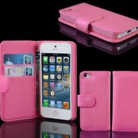 Brand New Pink Wallet Leather Flip Stand Case Cover for iPhone 5 6th Gen 5 G