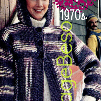355da8695eca27 Hooded Jacket KNITTING Pattern so EASY to KNIT Instant Download