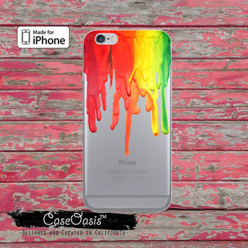 Rainbow Paint Drip Crayon Melt Art Cute Tumblr Clear Rubber Phone Case For iPhone 6, iPhone 6 Plus, iPhone 5/5s Rubber, and iPhone 5c Case
